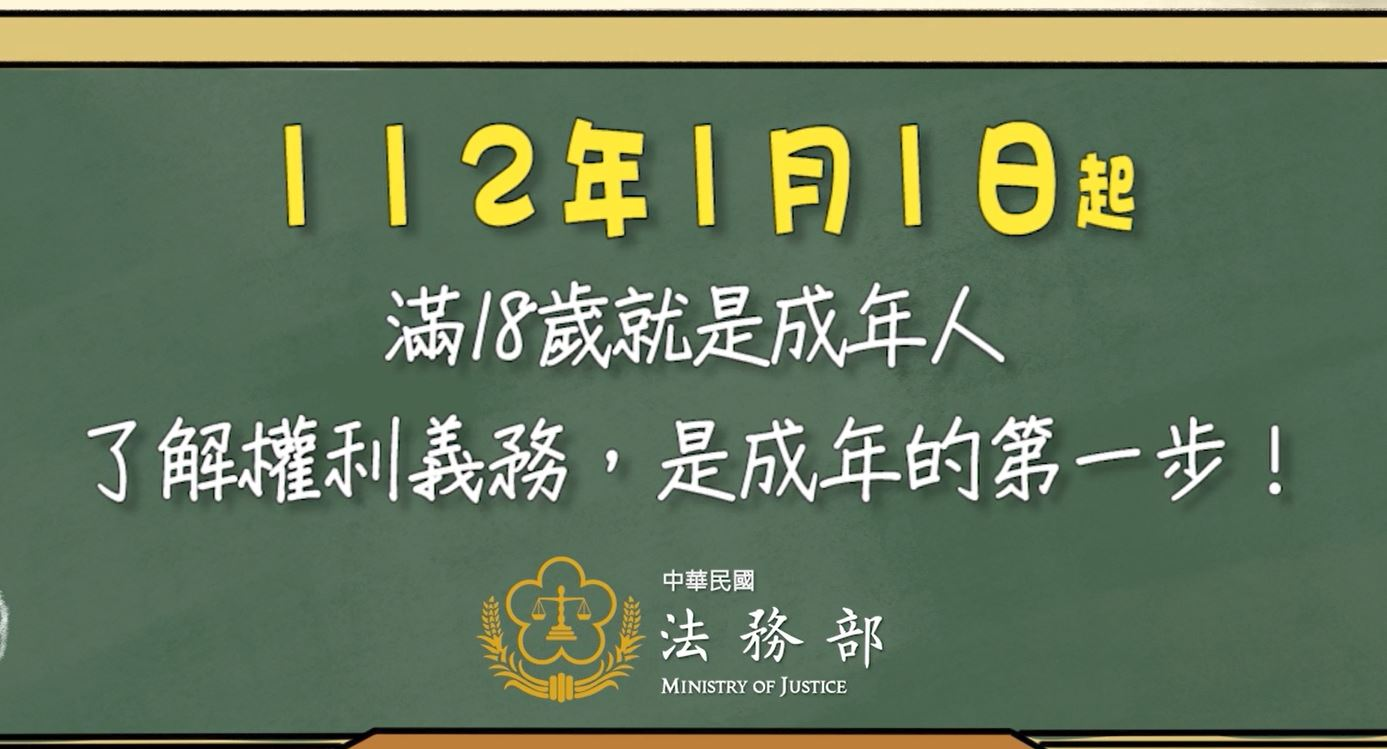 民法修正調降成年年齡為18歲,將於112年1月1日施行